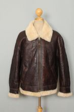 Vtg B-3 Brown Sheepskin USAAF Style Winter Flight Leather Jacket Large